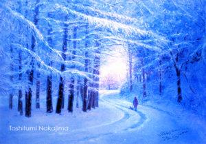 新雪の夕暮れ