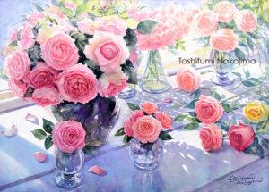 陽ふり注ぐ窓辺-薔薇